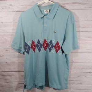 Lacoste blue polo shirt argyle print alligator